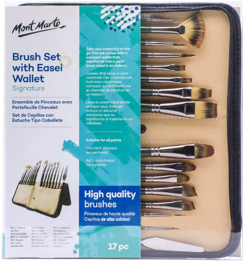 Mont Marte Signature Brush Set with 17 35% OFF Suitable Nashville-Davidson Mall Piece Wallet f