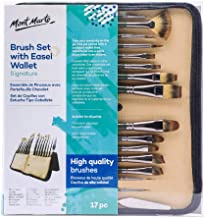 Mont Marte Signature Brush Set with Wallet, 17 Piece, Suitable for Oil, Acrylic, Watercolor and Gouache Paint, Easel Walle...