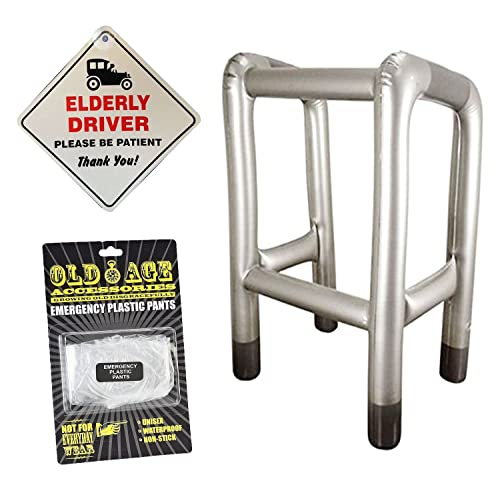 NOVELTY ELDERLY DRIVER CAR WINDOW SIGN INFLATABLE ZIMMER FRAME EMERGENCY PLASTIC PANTS