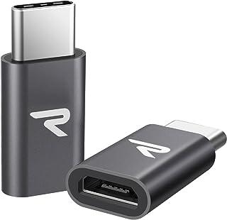 Rampow Adaptador Micro USB a Tipo C Aluminio Duradero, Adaptador Micro USB C-Garantía de por Vida-Compatible para HTC 10U11LG G6OnePlus 235 Sony Xperia XZ,Samsung Galaxy S8/S9,Gris Espacial-2 Unidades