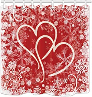 NYMB Valentine's Day Shower Curtains, Hearts with Snowflakes for Lover Bath Curtain,Fabric Shower Curtain, Bathroom Accessory Sets, Hooks Included, 70X70in