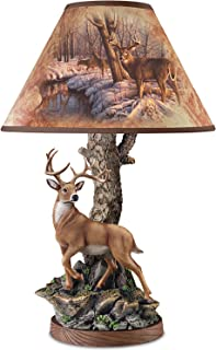 Greg Alexander Whitetail Accent Lamp with Sculpted Deer Base: Whitetail Majesty by The Bradford Exchange