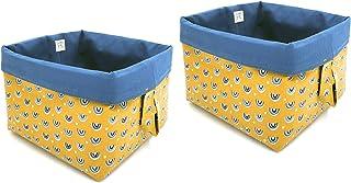 Panier de rangement en tissu cubes réversibles en coton pour étagères et bureaux, panier/boîte/panier multifonction, décor...
