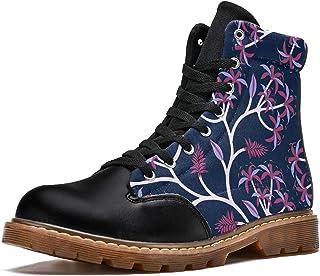 LORVIES Nature Palmier Tropical Marine Bottes d'hiver Chaussures Montantes en Toile à Lacets pour Hommes