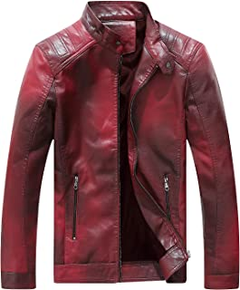 Fairylinks Red Leather Jacket Men Casual Camo