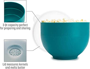 Goodful Silicone Microwave Popper, Collapsible and Dishwasher Safe Popcorn Maker, Bowl Made Without BPA, Multi-Purpose Lid, 3