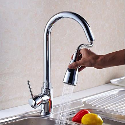Commercial Single Lever Pull Down Kitchen Sink Faucet Brass Constructed Polished Kitchen Pull-Out Faucet Sink Sink Hot and Cold redating Plating Faucet