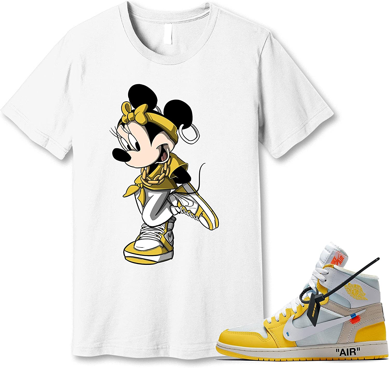 #Minnie Mouse White T-Shirt SEAL limited product to Match Yellow 1 Max 44% OFF Snea Jordan Canary