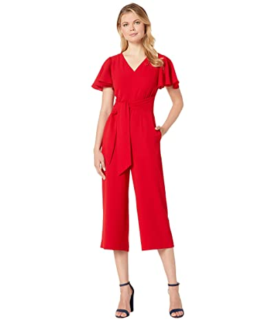 Tahari by ASL Stretch Crepe Cropped Leg Jumpsuit with Flutter Sleeve (Cardinal Red) Women