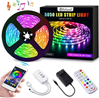 LED Strip Lights, Elfeland 16.4FT/5M 5050 RGB Light Strips Work with APP Color Changing Non-Waterproof Rope Lights Sync with Music Flexible Tape Light Kit for TV,Room,Kitchen