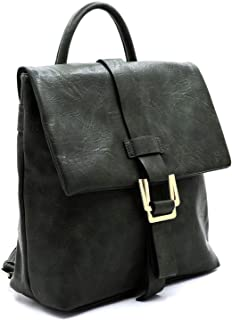 Vegan Faux Leather Buckle Flap Classy Fashion Backpack Purse For Women