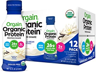 Orgain Organic 26g Grass Fed Whey Protein Shake, Vanilla Bean - Meal Replacement, Ready to Drink, Low Net Carbs, No Sugar ...