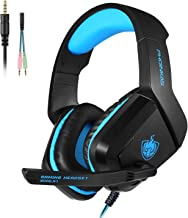 PHOINIKAS H1 3.5MM Xbox One Gaming Headset,PS4 Headset for PC, Laptop, Mac, iPad, Nintendo Switch Games, Over Ear Headphone with Microphone,Bass Surround,LED Light,Soft Memory Earmuffs(Blue)