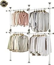 PRINCE HANGER, One Touch Double 2 Tier Adjustable Hanger, Holds 80kg(176LB) per Horizontal bar, Clothing Rack, Closet Organizer,38mm Vertical Pole, Heavy Duty, Garment Rack, PHUS-0033, Made in Korea