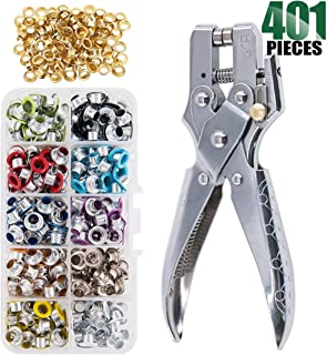 Keadic 300 Sets 1/5 inch Multi-Color Metal Eyelets Grommets Kit with Hole Punch Plier and 100pcs Extra Gold Eyelets, for Leather, Canvas, All Fabrics Clothes, Shoes, Belts, Bags, Crafts (11 Colors)