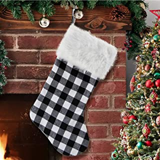 S-DEAL Black and White Plaid Christmas Stocking Double Layers Gift Holder White Plush Cuff 21 Inches Decor for Holiday Party Xmas Mantel Ornaments