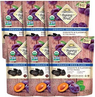 ORGANIC Prunes - Sunny Fruit - (6 Bags) - (5) 1.06oz Portion Packs per Bag | Purely Dried Plums - NO Added ...