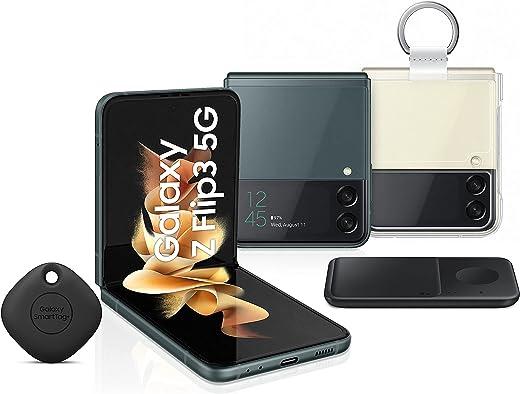 هاتف سامسونج جالاكسي Z Flip3 ثنائي الشريحة - 256 جيجابايت، ذاكرة رام 8 جيجابايت، الجيل الثاني، أخضر (KSA إصدار) + شاحن لاسلكي مزدوج لهاتف سامسونج + غطاء شفاف مع حلقة + بطاقة سامسونج الذكية