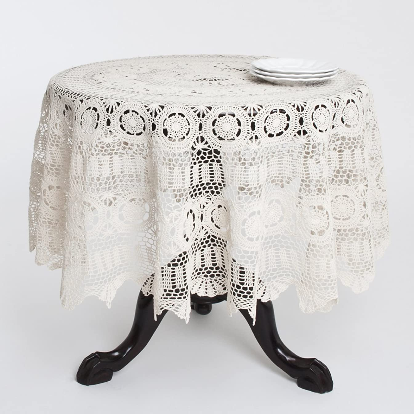 HANDMADE CROCHET LACE COTTON TABLELCOTH, ROUND