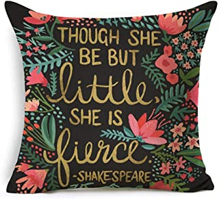 Kithomer Inspirational Quotes with Arrow Home Decorative Pillowcase Throw Pillow Covers Cotton Linen Cushion Cover 18 x 18 Inches (Though SHE BE BUT Little SHE is Fierce, 18 x 18)