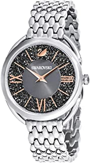 Crystal Authentic Crystalline Glam Watch, Metal Strap, Gray, Silver Tone - High Class Stone Studded Swiss Made Timepiece Jewelry and Everyday Accessory for Women