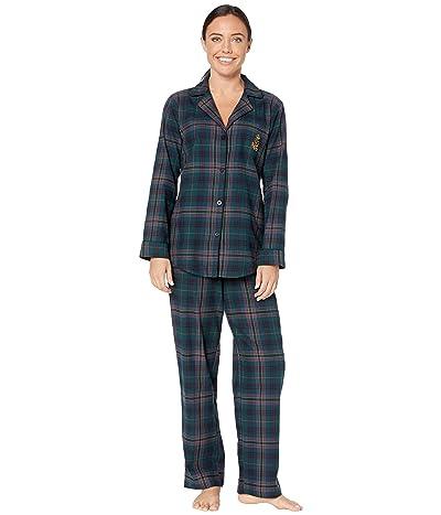 LAUREN Ralph Lauren Brushed Twill Long Sleeve Notch Collar Long Pants Pajama Set (Green Plaid) Women