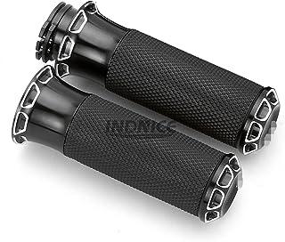 Manopole CNC da 1con taglio profondo per impugnatura in gomma Harley Dyna impugnature Softail Sportster XL883 Cruiser Chopper Black