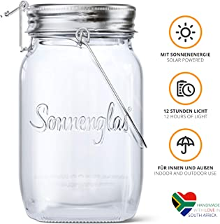 SONNENGLAS Original Premium Solar LED Lantern | Solar and USB Charging | Sturdy Glass and Stainless Steel | Fair Trade from South Africa