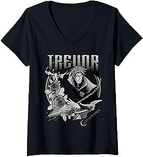Femme Castlevania Trevor Floral Badge T-Shirt avec Col en V