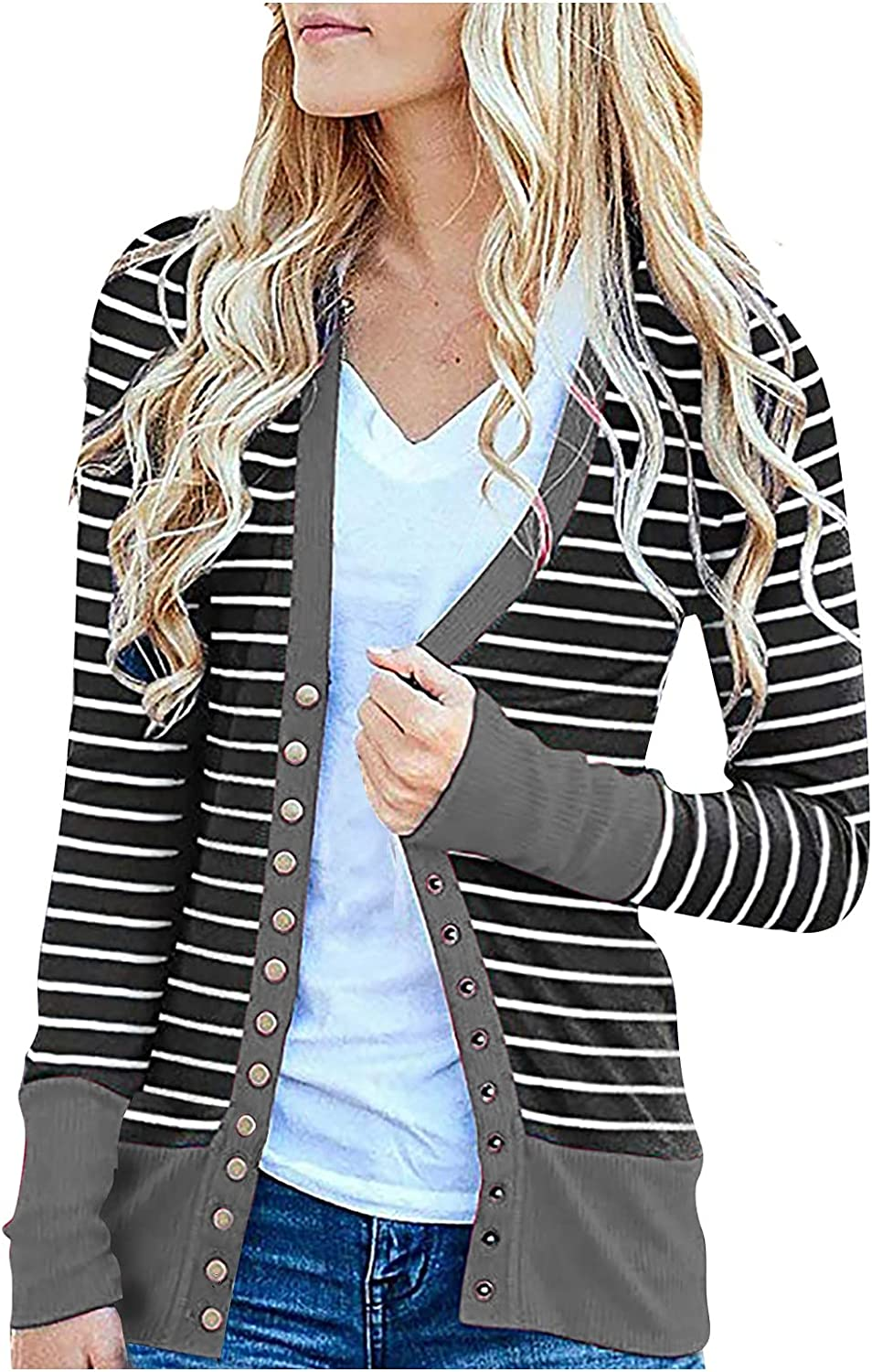 VonVonCo Womens Dress Tops Fashion Casual Striped Fit Overcoat Stitching Long-Sleeved Cardigan Jacket Tops