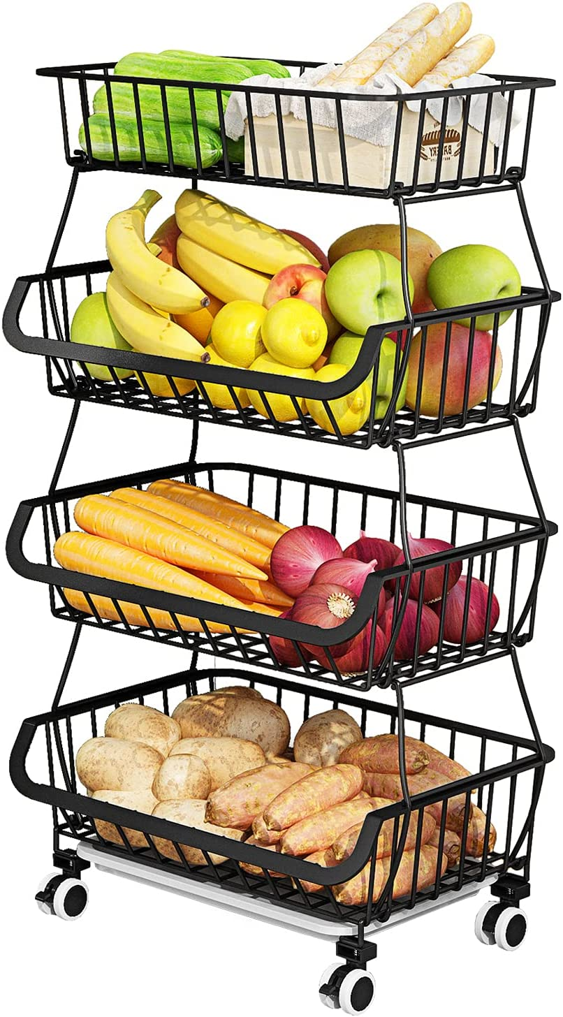 AIYAKA 4 Tier Stackable Fruit Cart Beauty products sale Storage for Basket Vegetable