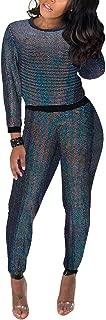 Akmipoem Women's Velvet 2 Piece Outfit Sequin Patchwork Sweatshirt and Pants Set Tracksuit