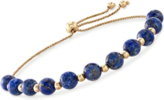 Ross-Simons Simulated Turquoise and 14kt Yellow Gold Bead Bolo Bracelet