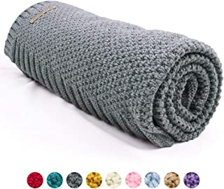 mimixiong Baby Blanket Knit Toddler Blankets for Boys and Girls Grey 40x30 Inch
