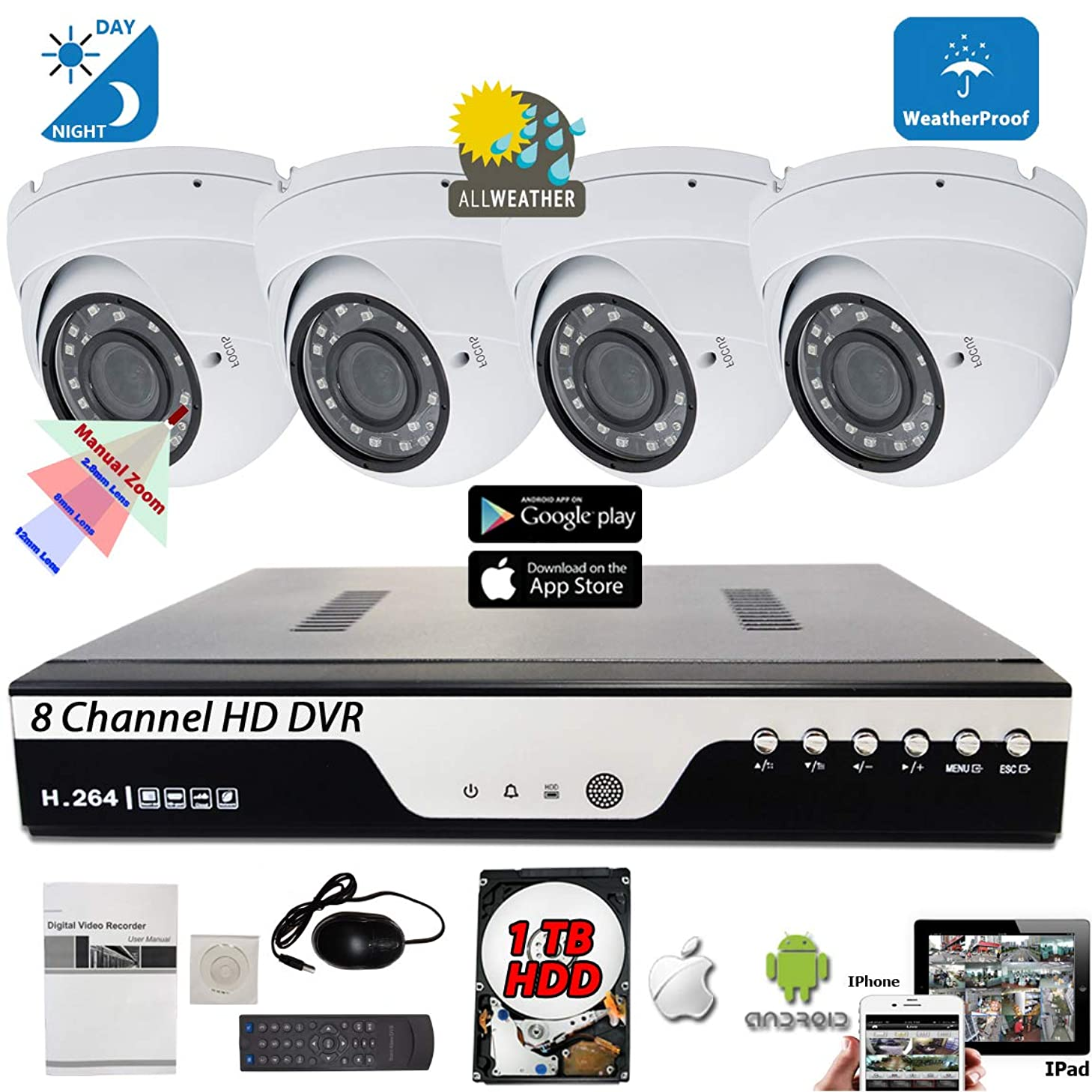Evertech 8 Channel HD DVR Remote Access w/ 4 pcs 4in1 AHD TVI CVI Analog Varifocal Manual Zoom 1080P HD Dome CCTV Security Camera System 1TB Hard Drive