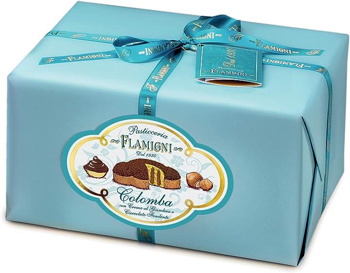 Colomba pasquale farcita con crema pasticcera gianduia da 950 g, artigianale, ricoperta di cioccolato fondente B01BPRVPNW