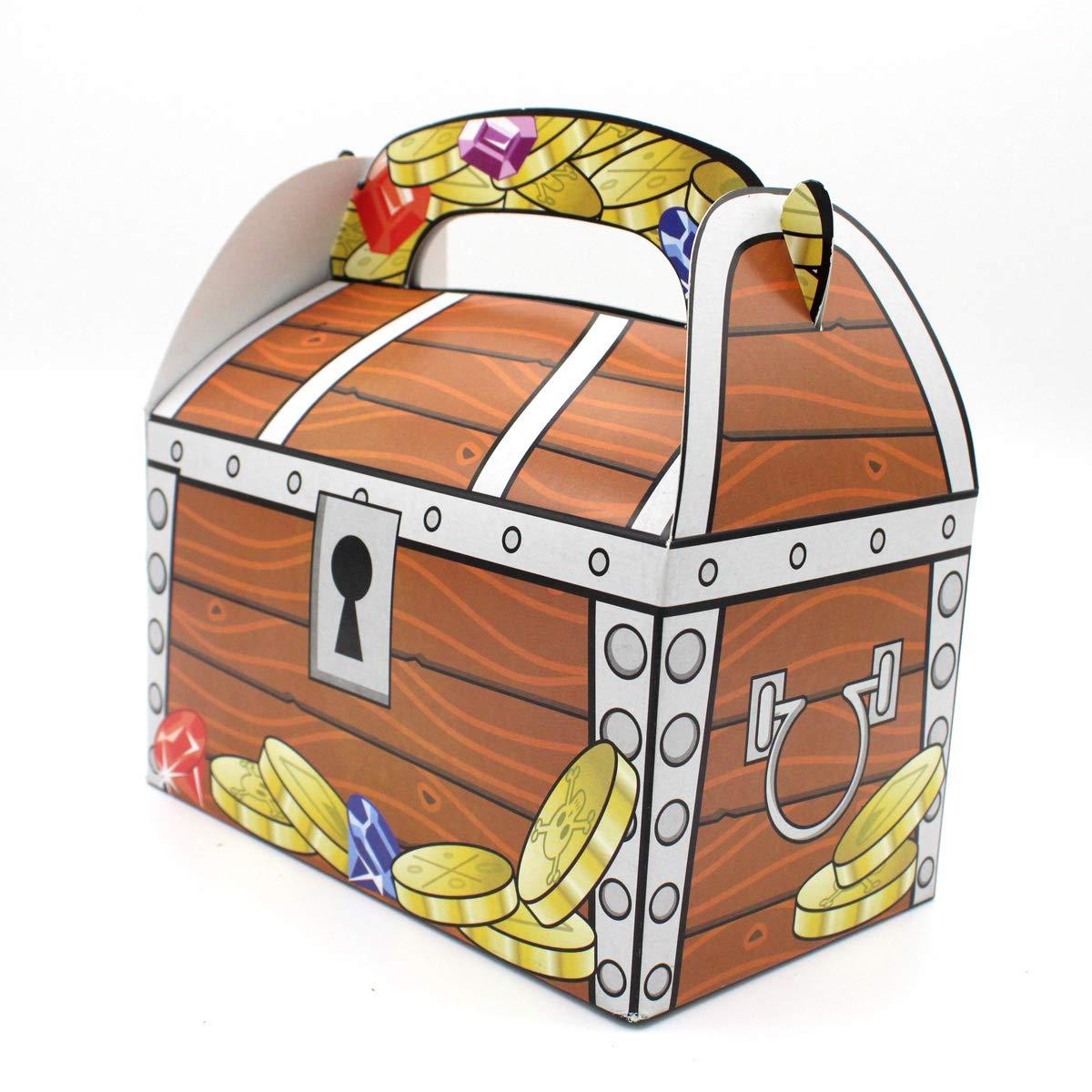 6 x Piratas Cofre del Tesoro del tesoro cajas bolsas obsequios regalo etüten Niños Cumpleaños Giveaway del tesoro schnitzel Caza: Amazon.es: Juguetes y juegos