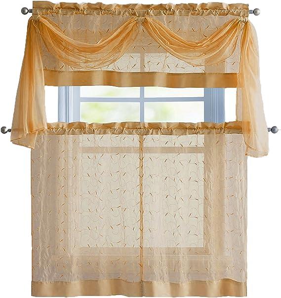 Linen Leaf 4 Piece Embroidered Kitchen Curtain Set Gold Home Kitchen Amazon Com