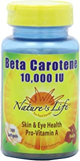 Nature's Life Beta Carotene 10,000 IU , 100 Softgels,  (Pack of 2)