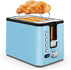 2 Slice Toasters Best Rated Prime with LED Display, Toaster 2 Slice with Heating Rack, Reheat/ Defrost/ Bagel/ Cancel, 6 Optional Browning Dials, Classic Toaster Stainless Blue