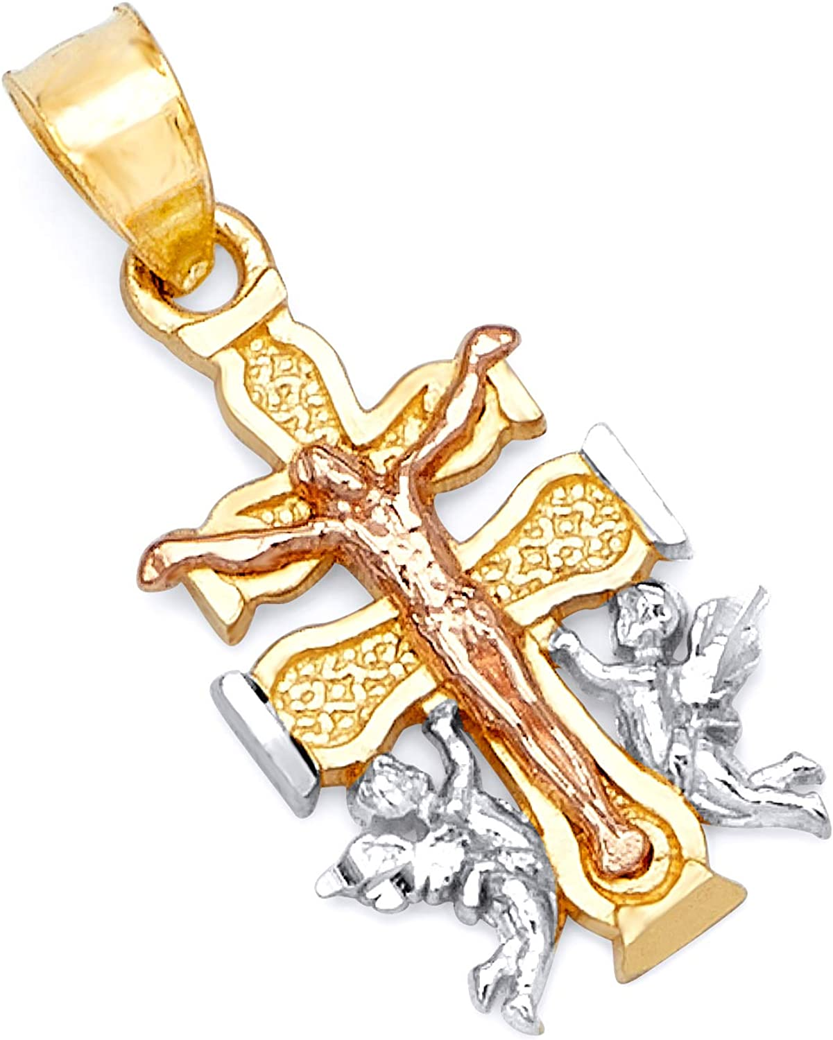 safety TWJC 14k REAL Tri Color Factory outlet Gold of Charm Religious P Caravaca Cross