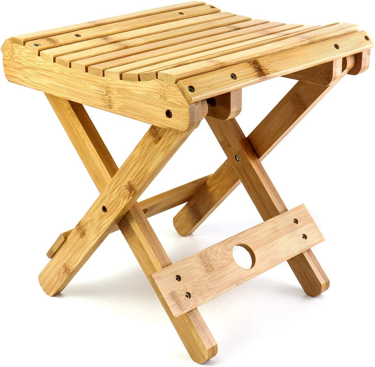QWORK Folding Gorgeous Bamboo Step Stool Opening large release sale Fully Assembled Small Woo Chair