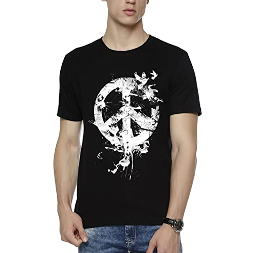 Wear Your Opinion WYO Men's Graphic Printed Casual Half Sleeve T-Shirt (Peace Bird)