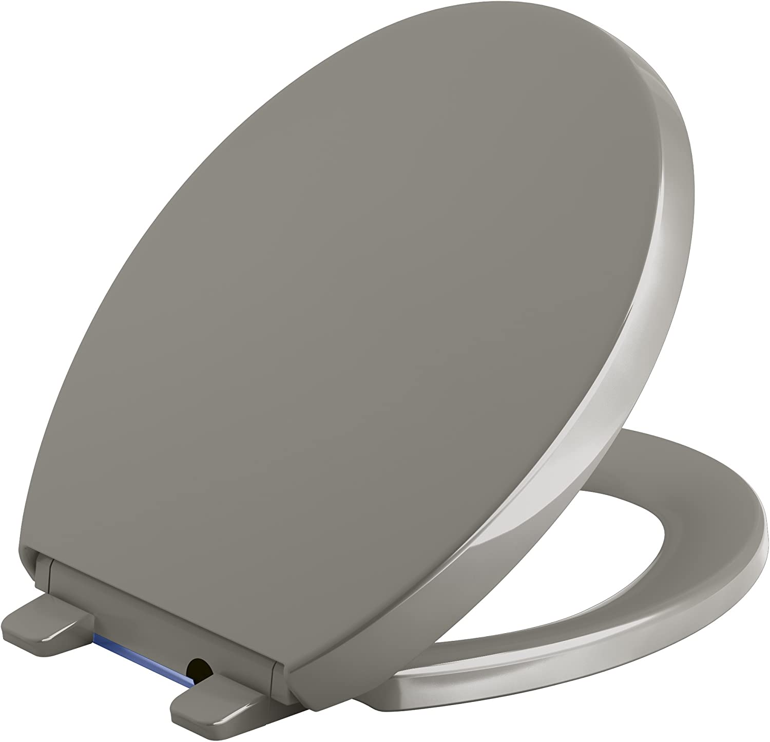 KOHLER 75793-K4 Reveal Nightlight Quiet-Close with Grip-Tight Round-Front Toilet Seat, Cashmere