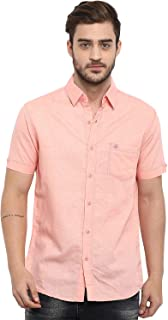 Mufti Men's Solid Slim fit Casual Shirt (MFS-9910-H-09-PINK- Pink_3XL)