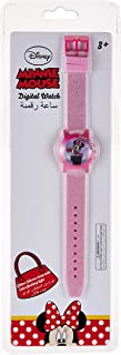 Disney Minnie Girls Glitter Silicone Strap Digital with Flashing Light Wristwatch - TRHA4134