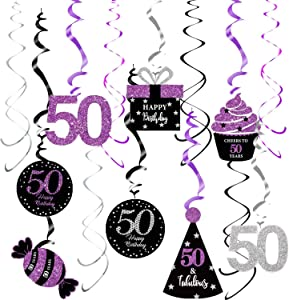 50th Birthday Decorations for Women Purple Silver Black Qian's Party Purple Silver Black Foil Hanging Swirls Decorations 50th Birthday Party Hanging Decor – Women 50th Birthday Party Decoration Swirls - Set of 15