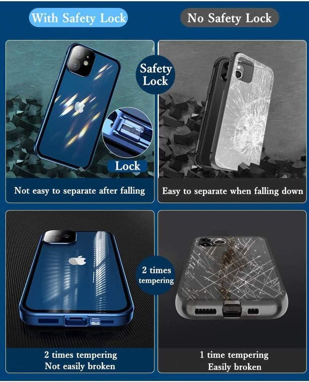 avec Verrouillage de S/écurit/é ,Etui de Transparent Verre Tremp/é Antichoc M/étal Cadre Bumper,Protection 360 Degr/és Flip Cover Case pour S21,Argent Coque pour Samsung Galaxy S21 Magn/étique Housse