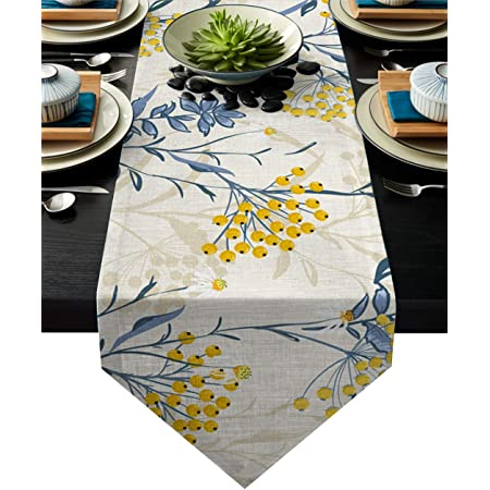 HELLOWINK 90Inch Burlap Table Runners, Vintage Floral Plant, Cotton Linens Table Runner Cloth for Wedding Dinning Room Parties Holiday Dressers Home Decor(Yellow Blue, Triangle)