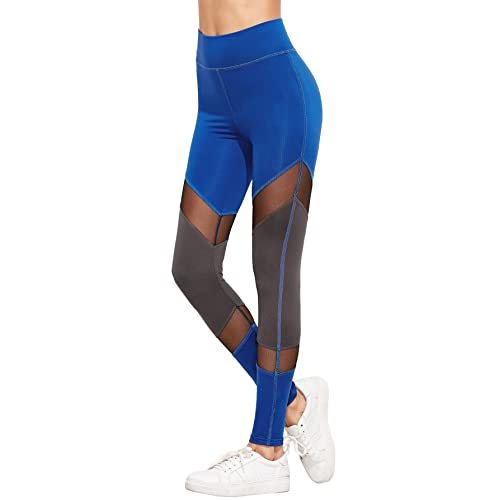 890b7199fe456d SweatyRocks Women's Stretchy Skinny Sheer Mesh Insert Workout Leggings Yoga  Tights (X-Small,